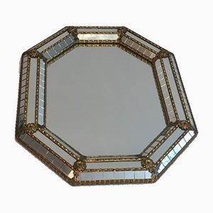 Achteckiger kleiner Spiegel aus Messing mit Girlanden & Blumenrahmen & Spiegelglas, 1970er
