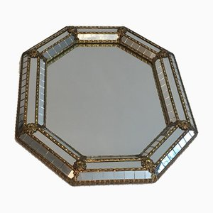 Octagon Brass Garlands & Flowers and Mirror Faceted Small Mirror, 1970s