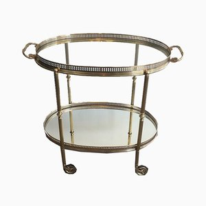 French Neoclassical Style Brass Drinks Trolley, 1940s