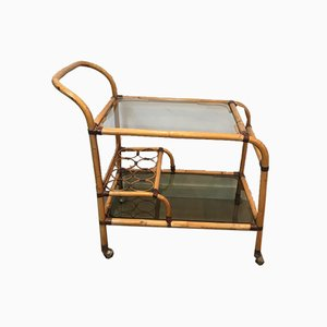 French Rattan Drinks Trolley with Leather Links, 1950s