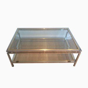 French Chrome and Brass Rectangular Coffee Table, 1970s