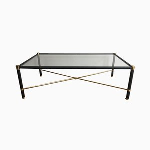 French Rectangular Brass and Black Leather Coffee Table in the Style of Jacques Adnet, 1970s
