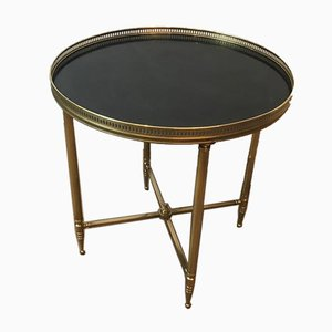 French Round Neoclassical Style Brass Side Table with Black Top by Maison Jansen, 1940s