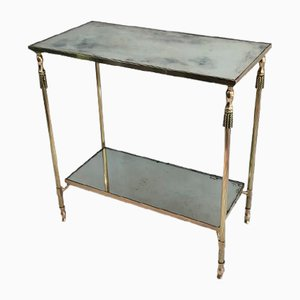 French Neoclassical Brass Side Table with Eglomise Mirror Tops Attributed to Maison Jansen, 1940s