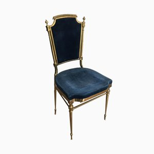 French Neoclassical Gilt Brass Chair with Royal Blue Velvet Attributed to Maison Jansen, 1940s