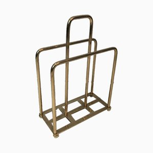 French Modernist Brass Magazine Rack, 1940s
