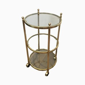 French 3-Tier Round Brass Side Table on Casters, 1970s
