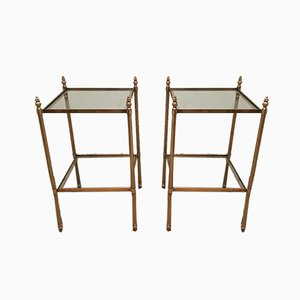 French Brass Side Tables Attributed to Maison Jansen, 1940s, Set of 2