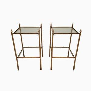 Tables d'Appoint en Laiton Attribuées à Maison Jansen, France, 1940s, Set de 2
