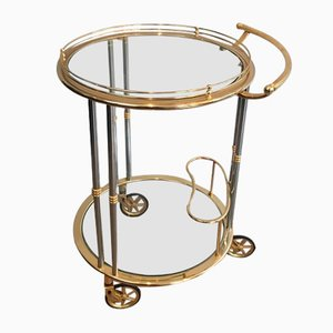 French Gunmetal and Gilt Drinks Trolley, 1970s