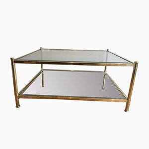 French Square Brass Coffee Table, 1970s