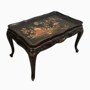 French Neoclassical Style Lacquered Coffee Table with Floral Colored & Gilt Decor in the Style of Maison Hirch, 1940s