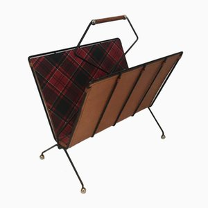 French Black Lacquered Metal, Leather & in the Style of Burberry Fabric Magazine Rack, 1950s