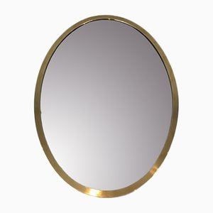 French Oval Brass Mirror, 1070s