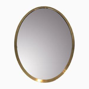Ovaler französischer Spiegel aus Messing, 1070er