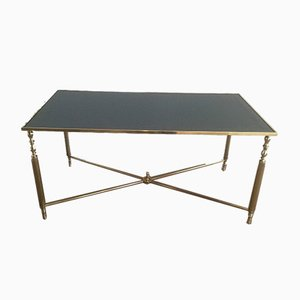 Brass Coffee Table with Blue Mirror Top, 1960s