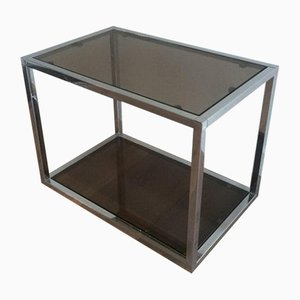 Chrome Side Tables with Smoked Glass, 1970s, Set of 2