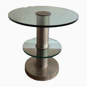 Brushed Metal and Glass Round Occasional Table, 1960s