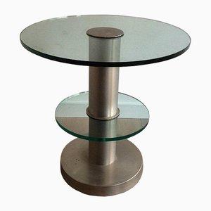 Runder Beistelltisch aus gebürstetem Metall und Glas, 1960er