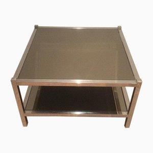 Grandes Tables d'Appoint en Chrome et Bronze, 1970s, Set de 2