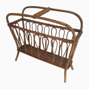 French Rattan Magazine Rack, 1960s