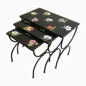 French Ceramic and Black Iron Nesting Tables, 1950s