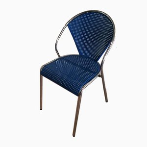 Chrome and Blue Lacquered Perforated Metal Chairs, 1980s, Set of 4