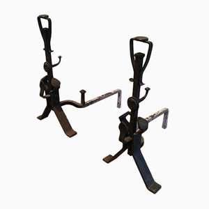 Art and Crafts Iron Andirons, 1900s, Set of 2