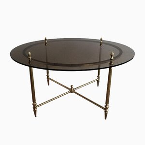 French Round Brass Coffee Table by Maison Bagués, 1970s
