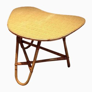 Small French Rattan Coffee Table, 1970s