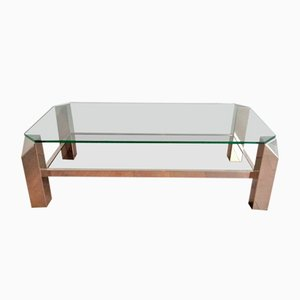 Octagon Chrome Coffee Table with Clear Glass and Mirror, 1970s