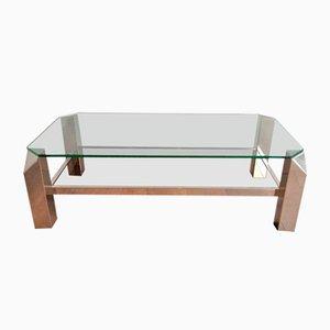 Table Basse Octogonale en Chrome avec Verre Transparent et Miroir, 1970s