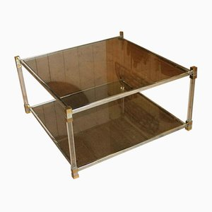 French Lucite, Chromed, Brass and Smoked Glass Coffee Table, 1970s