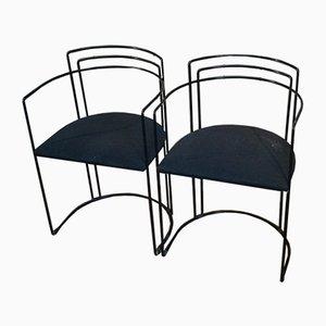 Schwarz Lackierte Metall Sitze, 1980er, 4er Set