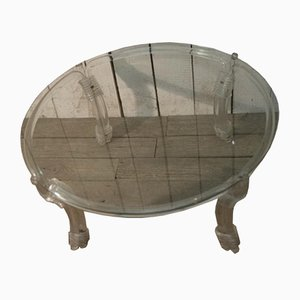 French Round Lucite Coffee Table, 1970s