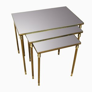 French Neoclassical Brass Nesting Tables with Mirror Tops, 1970s