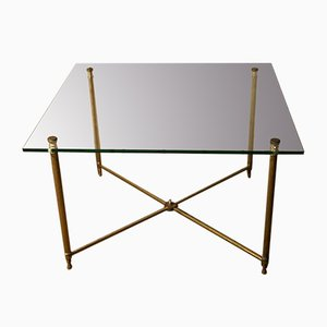 French Neoclassical Style Brass and Glass Coffee Table, 1970s