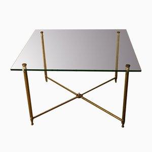 Table Basse Style Néoclassique en Laiton et Verre, France, 1970s