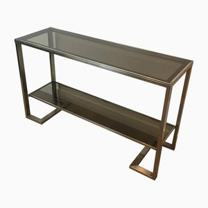 French Brushed Steel Console Table with Bronzed Glass by Guy Lefèvre, 1970s