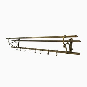 Large French Brass Wall Coat Hanger, 1900s