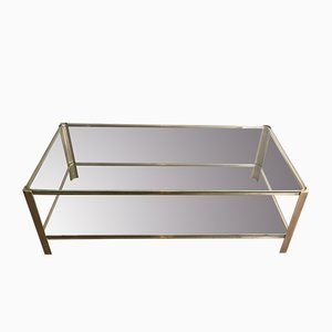 Brass Coffee Table Attributed to Jacques Quinet from Broncz, 1970s