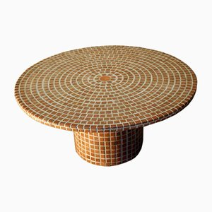 French Round Terracotta Coffee Table with Small Tiles, 1970s