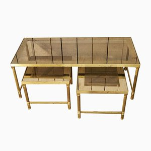 French Anodized Brass Coffee Table with Nesting Tables in Smoked Glass, 1970s, Set of 3