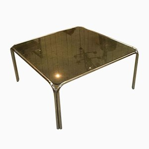 French Chrome Side Tables with Glass Top, 1970s, Set of 2