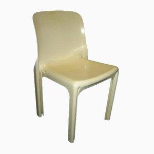 Weiße Selene Stühle von Vico Magistretti, 1970er, 4er Set