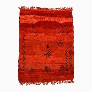 Großer marokkanischer Vintage Beni Ourain Teppich in Rot & Schwarz, 1980er