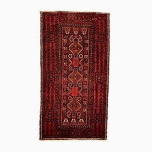 Vintage Black and Red Wool Tribal Rug, 1980s