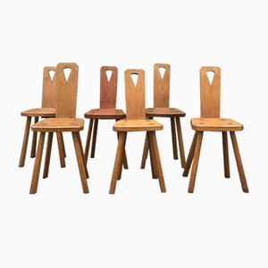 Brutalist Oak Dining Chairs, 1950s, Set of 6