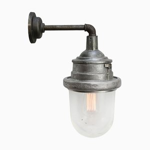Mid-Century Silver Gray Metal and Industrial Clear Glass Sconce