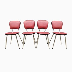 Sedie da pranzo vintage in similpelle rossa, anni '60, set di 4